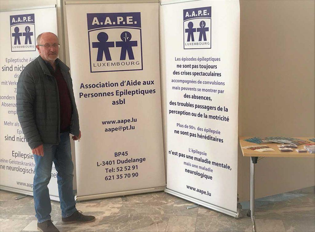 Stand und Infomaterial bei der Ausstellung eine Stadt<br>für alle im neuen Theater in Luxemburg